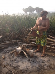 Alejandro starting the base for the fire with palm bark